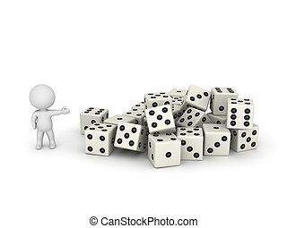 3D Character Showing Pile of Dice