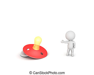 3D Character showing red pacifier. Isolated on white.
