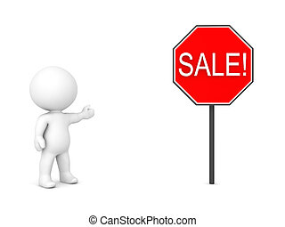 3D Character showing red sign with the text SALE