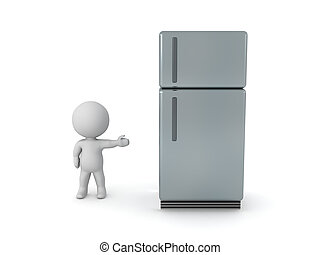 3D Character showing refrigerator