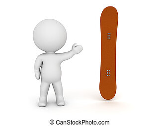 3D Character Showing Snowboard