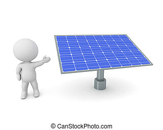 3D Character Showing Solar Panels