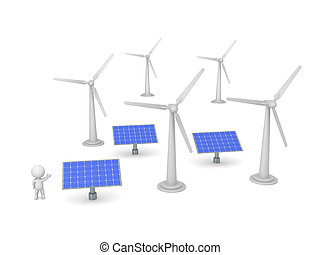 3D Character Showing Solar Panels and Wind Turbines