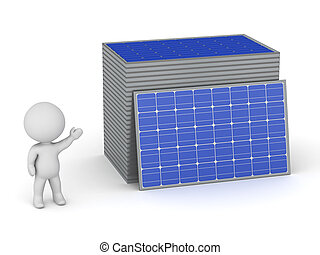 3D Character Showing Stacks of Solar Panels