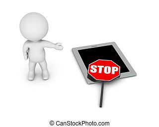 3D Character Showing Stop Sign Over Tablet