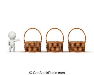 3D Character Showing Three Empty Wicker Weaved Baskets - 3D...