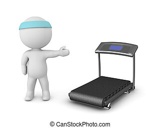 3D Character Showing Treadmill - 3D character showing a...