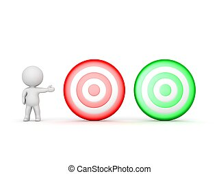 3D Character showing two targets