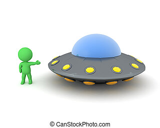 3D Character showing UFO