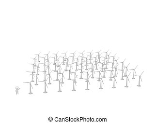 3D Character Showing Very Many Wind Turbines