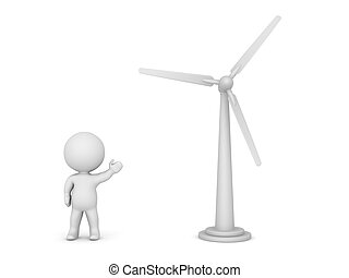 3D Character Showing Wind Turbine