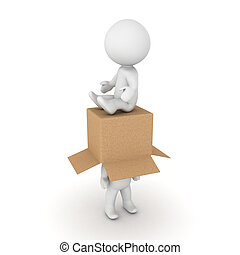 3D Character sitting on another one with a cardboard box