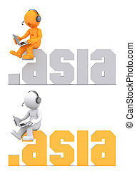 3d character sitting on .asia domain sign