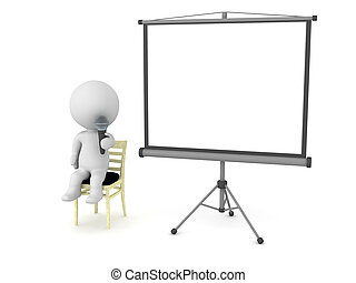 3D Character sitting on chair with microphone and projector screen