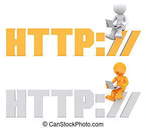 3d character sitting on HTTP sign.