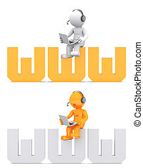 3d character sitting on WWW domain sign.
