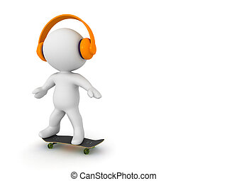 3D Character Skateboarding and Listening to Headphones - A...
