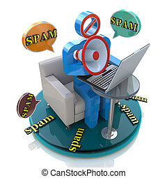 3d character spammer with a megaphone and bubbles speech with spam