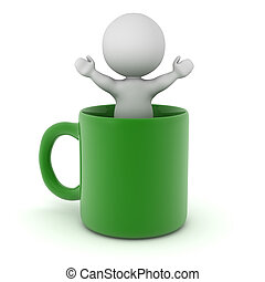 3D Character Standing inside a Cup