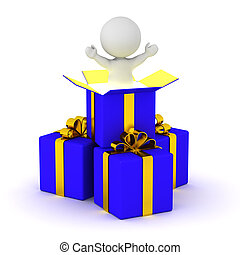 3D Character Standing Inside Gift Box