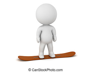 3D Character Standing on a Snowboard