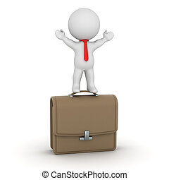 3D Character Standing on Briefcase