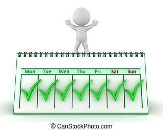 3D Character standing on calendar with checkmarks