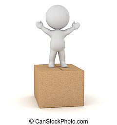 3D Character Standing on Cardboard Box