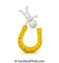 3D Character standing on one hand on a golden horseshoe