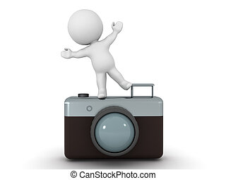 3D Character standing on one leg on retro photo camera