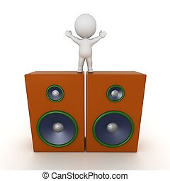 3D Character Standing on speakers