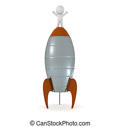 3D Character Standing on Top of a Rocket