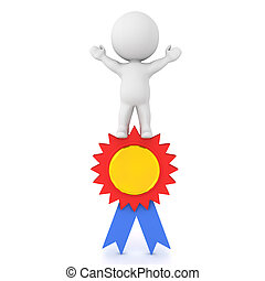 3D Character standing victorious on award badge. 3D...