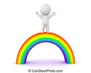 3D Character standing victorious on top of rainbow