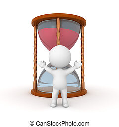 3D Character standing with his arms raised in front a hourglass