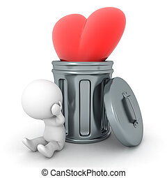 3D Character stressed next to heart thrown in garbage can