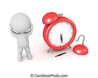 3D Character Stressed with Broken Alarm Clock - 3D character...