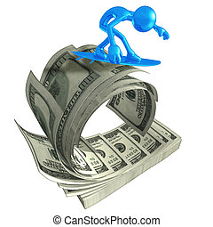 3D Character Surfing On Money Wave - 3D concept and...