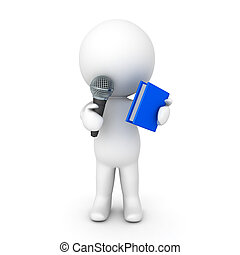 3D Character talking on the microphone and holding a book