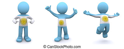 3d character textured with flag of Argentina