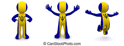 3d character textured with flag of Barbados