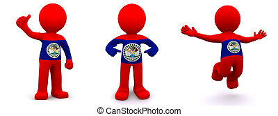 3d character textured with flag of Belize