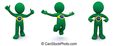 3d character textured with flag of Brazil isolated on white background