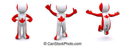 3d character textured with flag of Canada