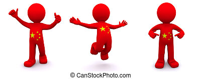 3d character textured with flag of China
