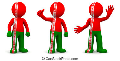 3d character textured with flag of Belarus