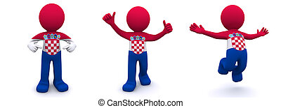 3d character textured with flag of Croatia - 3d character...
