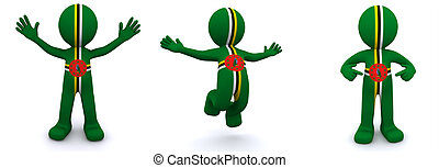3d character textured with flag of Dominica