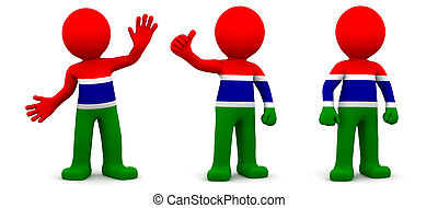 3d character textured with flag of Gambia