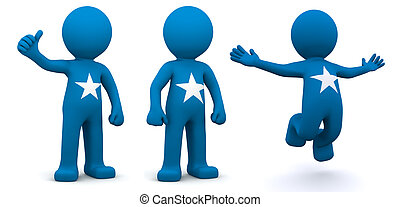 3d character textured with flag of Somalia